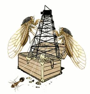 A formiga decrecedora abandona o tesouro desbaldido polas cigarras colosais