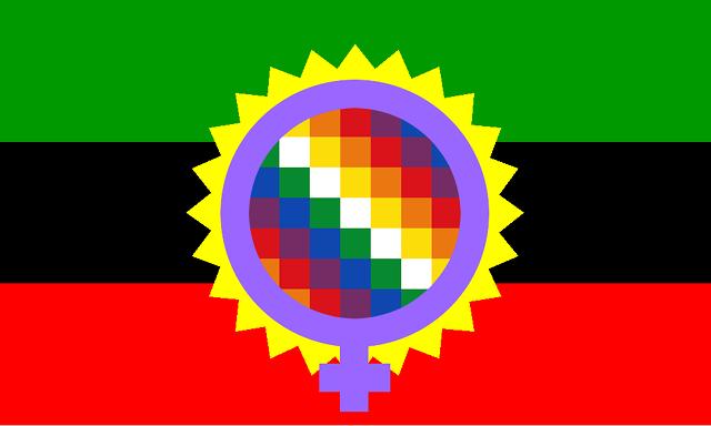 Bandera de un ecosocialismo libertario feminista e indigenista