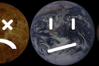Venus (muerto), la Tierra (vida en peligro) y Marte (muerto)