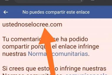 Captura dunha mensaxe de bloqueo de Facebook ao intentar compartir un artigo de Ferran Puig Vilar.